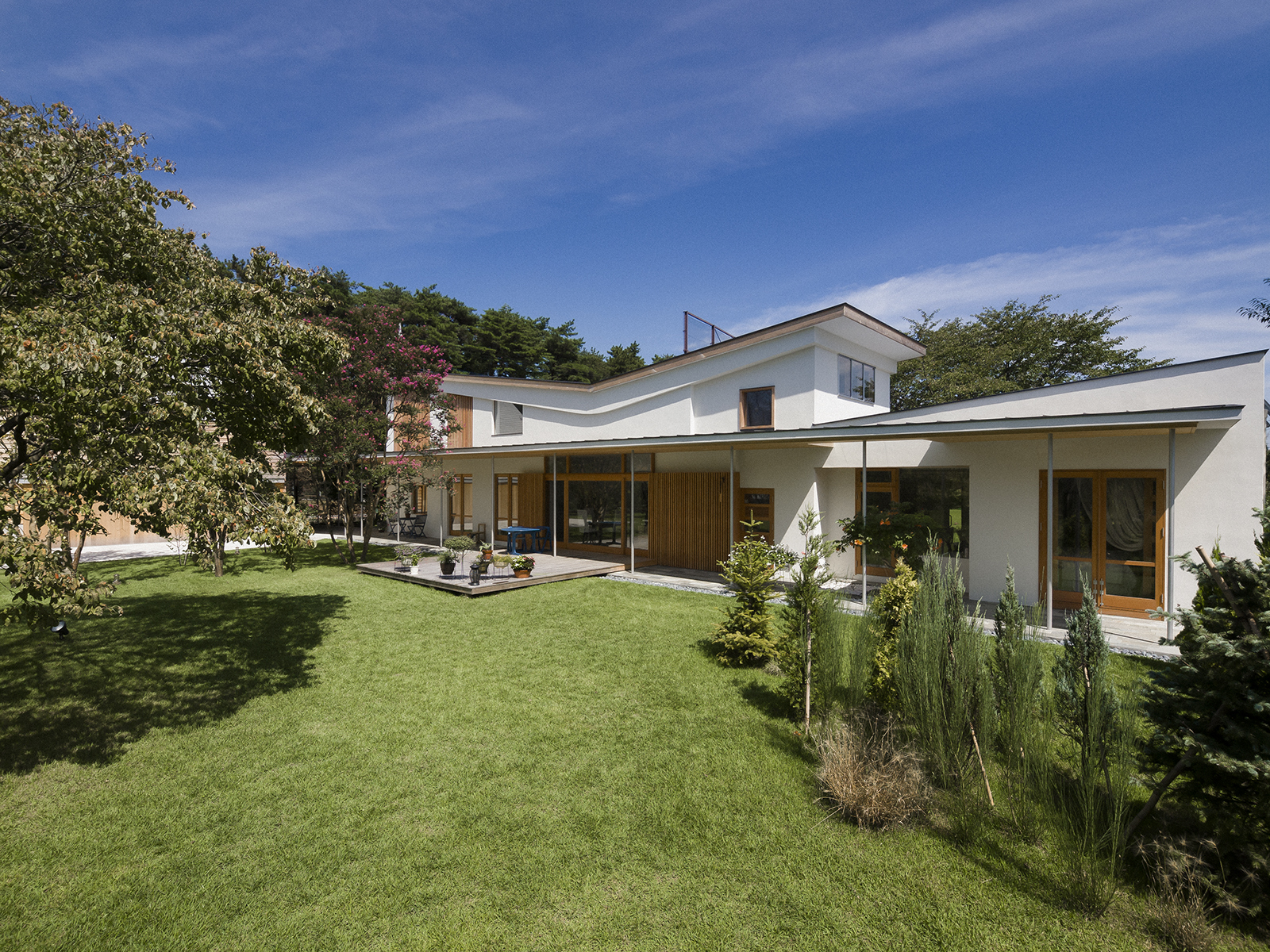 家と庭との関係性を同時に設計した郊外の家