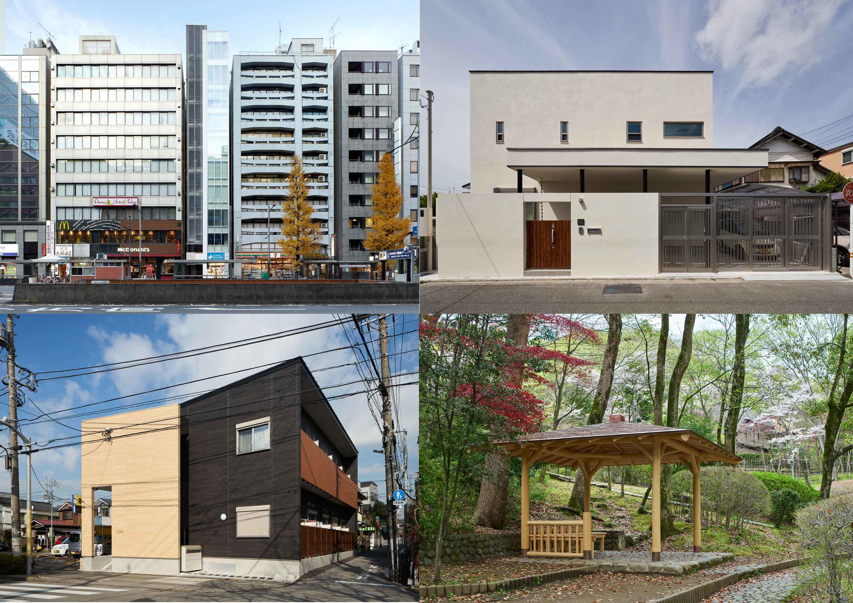 左上:日本橋商業ビル、右上:一戸建の住宅、左下:柳原のアパート、右下:東屋、様々な設計をしています。